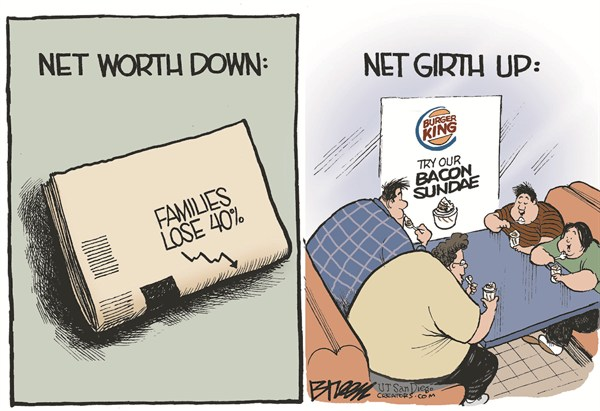 Net Worth Down © Steve Breen,The San Diego Union Tribune,family,net,worth,money,savings,girth,obesity,food