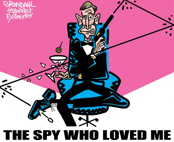 Spy Who Loved Me © Cal Grondahl,Utah Standard Examiner,petraeus,resigns,woman,affair,scandal,cia,petraeus-resigns,petraeus resigns, spy