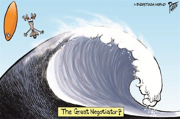 The Great Negotiator © Bruce Plante,Tulsa World,negotiator,great,obama,debt,spending,fiscal-cliff-stopped,obama-debt