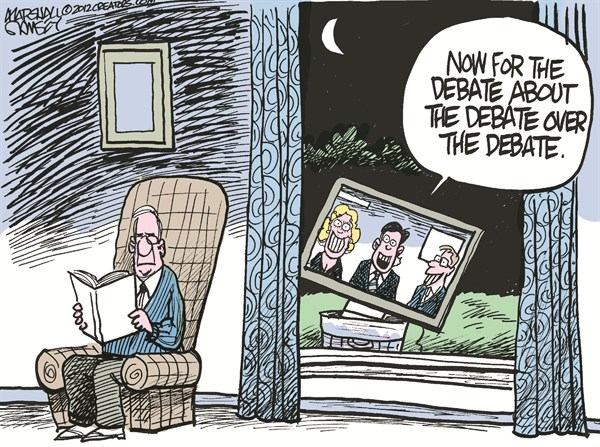 Debate About the Debate © Marshall Ramsey,The Clarion Ledger, Jackson Mississippi,debate,issues,romney,obama,denver