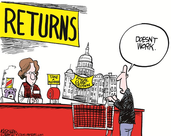 Take A Number © Marshall Ramsey,The Clarion Ledger, Jackson Mississippi,tax,fiscal cliff,solution,return