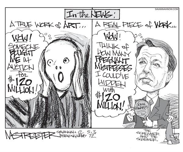 Angst and Vanity © Mark Streeter,The Savannah Morning News,john edwards,trial,mistress,artwork,millions,scream,secret