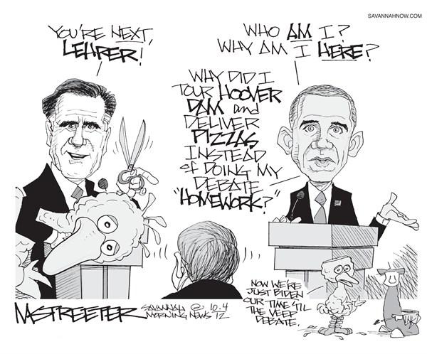 Zings and Arrows © Mark Streeter,The Savannah Morning News,lehrer,pbs,funding,obama,romney,debate,winner,pbs11,romney-obama-debate