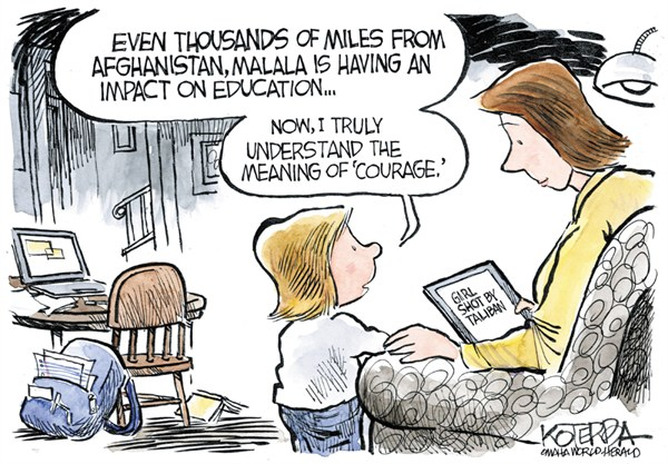 Malalas Courage © Jeff Koterba,Omaha World Herald, NE,malala,courage,taliban,shooting,education,women,teenager,school