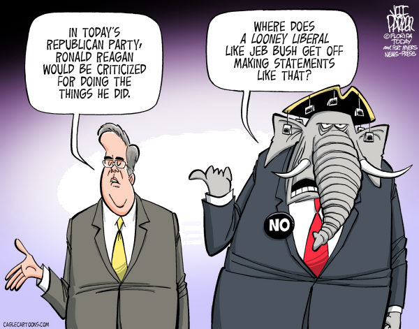 Looney Liberal Jeb Bush © Jeff Parker,Florida Today and the Fort Myers News-Press,Jeb Bush, Ronald Reagan, moderate, Republican, establishment, base, Tea Party, conservative, orthodox, hard line, right wing, criticize, spending, compromise, raise, taxes, bipartisanship, neo