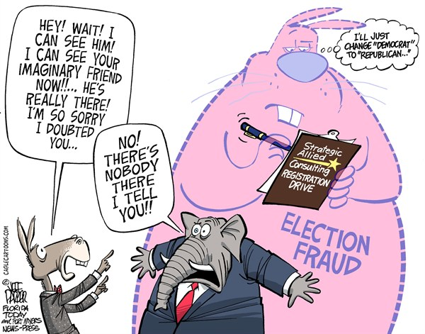 GOP Real Election Fraud © Jeff Parker,Florida Today and the Fort Myers News-Press,Republican, GOP, elections, voter, fraud, registration, drive, laws, rules, ethics, false, signatures, Democrat, ID