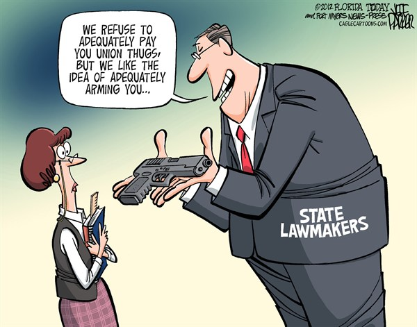 Arming Teachers © Jeff Parker,Florida Today and the Fort Myers News-Press,State,lawmaker,legislature,legislators,arming,teachers,Northtown,mass,shooting,school,killings,protection,defend,guns,NRA,lobby,firearms,connecticut shooting, gun debate 2012, school violence
