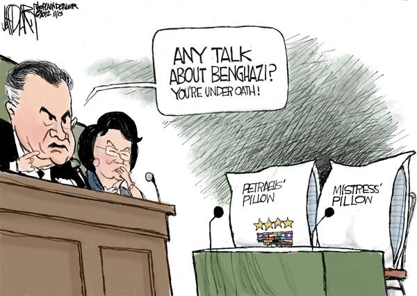 Petraeus Pillow © Jeff Darcy,The Cleveland Plain Dealer,benghazi,coverup,petraeus,mistress,pillow,oath,cia,scandal,resign,petraeus-resigns,benghazi-coverup