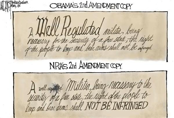 Second Amendment © Jeff Darcy,The Cleveland Plain Dealer,militia,regulated,violence,obama,guns, Living With Guns, nra, obama guns, second amendment