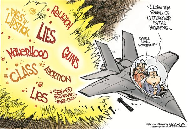 Culture wars (Cartoon By John Cole, The Scranton Times-Tribune - 9/14/2008 12.00.00 AM; Cole's Caption - McCain and culture war; cartoon courtesy - politicalcartoons.com). Click for larger image.