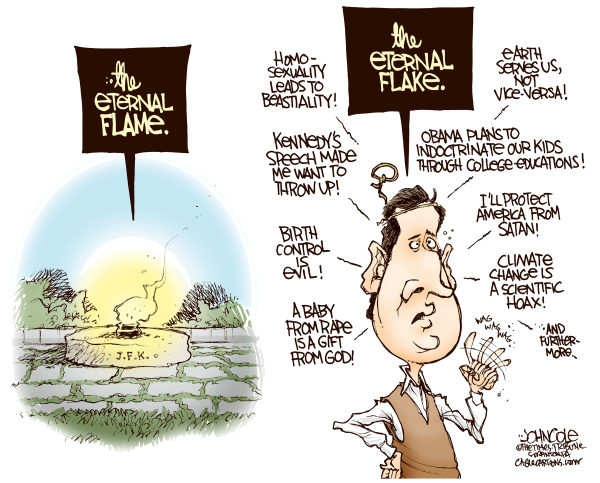 Santorum and Kennedy © John Cole,The Scranton Times-Tribune,rick santorum, santorum, john f kennedy, kennedy, religion, gop