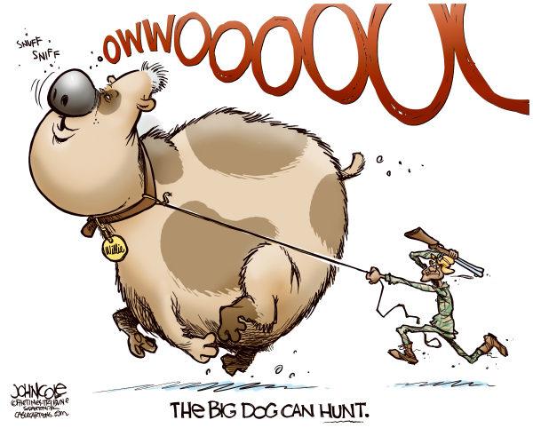 The Big Dog can hunt © John Cole,The Scranton Times-Tribune,bill clinton,barak obama,dnc,convention,nomination,clinton speech