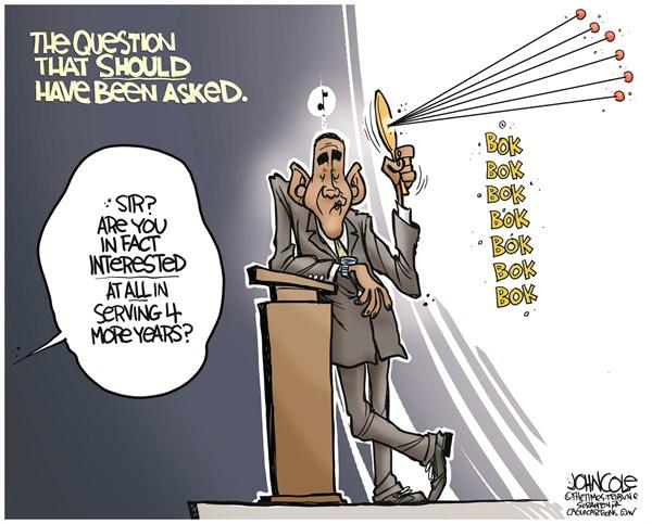 Obama debate performance © John Cole,The Scranton Times-Tribune,obama,debate,democrats,gop,romney,denver,obama reelection, Romney and Obama Debate
