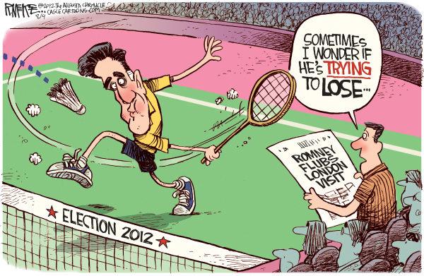 Romney Badminton © Rick McKee,The Augusta Chronicle,Mitt, Romney, 2012 London, Olympics, badminton