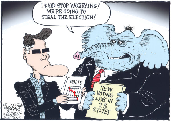 GOP Stealing Election © Bob Englehart,The Hartford Courant,Mitt Romney, GOP, Elephant, polls, voter id, photo id, disenfranchisement, vote