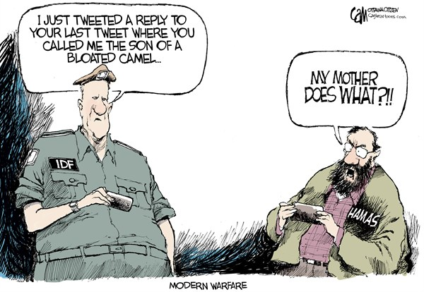 Tweet War © Cardow,The Ottawa Citizen,hamas,israel,twitter,tweets,social,media,war,modern