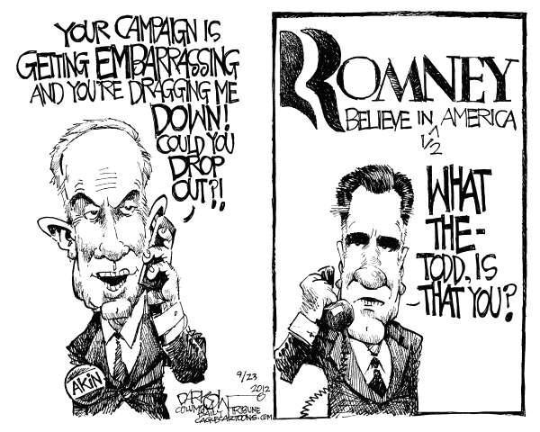 Akin Romney © John Darkow,Columbia Daily Tribune, Missouri,campaign, embarrassing, Akin, Romney, Todd, Mitt, Believe, America, half, drop out