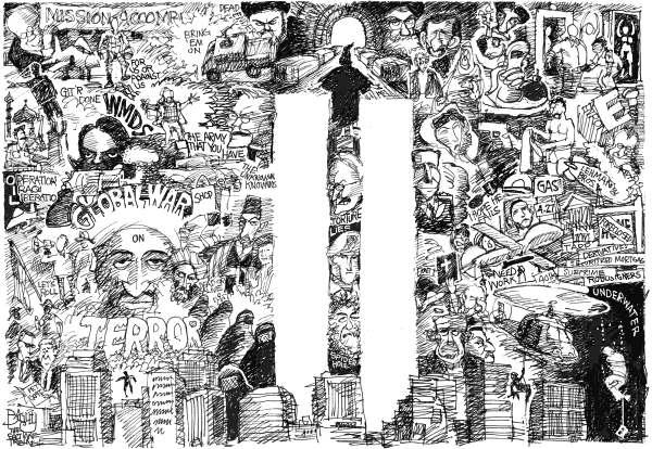 9/11 Negative Space © Pat Bagley,Salt Lake Tribune,Bush, Cheney, Rumsfeld, Rice, Condie, 9-11, 9/11, Iraq, Iran, Pat Tillman, Torture, Saddam, Mubarak, al Qaeda, Osama, bin Laden, Twin Towers, Mission Accomplished, Mushroom Cloud, WMDs, Airport Security, Shoe Bomber