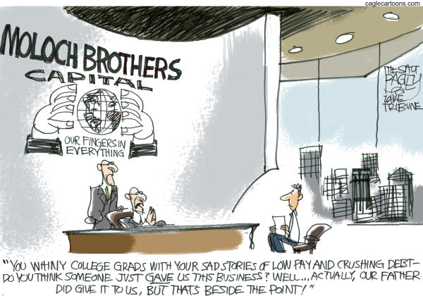 The Graduate © Pat Bagley,Salt Lake Tribune,Graduate, Grad, College, Graduation, Jobs, Job, Job Market, Business, Debt, College Debt, University, Loans, Pay