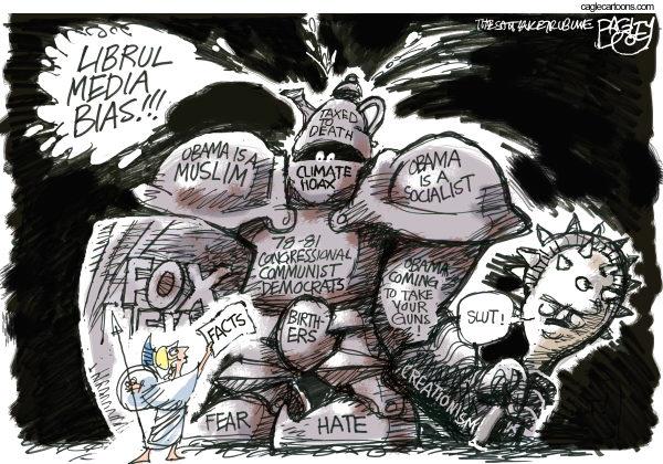 Armor of Ignorance © Pat Bagley,Salt Lake Tribune,Birthers, Muslim, Barack, Obama, Socialism, Socialist, Fear, Hate, Fox, Fox News, Climate, Hoax, Tea Party, Facts, Guns, NRA