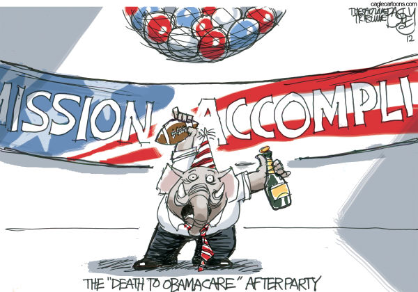 Obamacare Surprise Party © Pat Bagley,Salt Lake Tribune,GOP, Obamacare, ACA, Affordable Care Act, Republicans, Repeal and Replace, Mission Accomplished, healthcare tax, government, Roberts, Supreme Court, Constitutional, Legal, Mandate
