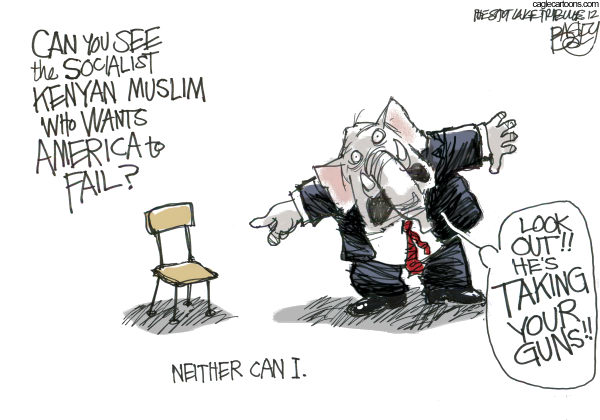 The Empty Chair © Pat Bagley,Salt Lake Tribune,Chair, Clint, Eastwood, Barack, Obama, GOP, Republicans, RNC, DNC, Convention, Tampa, Charlotte, Tea Party, Muslim, Socialist, Kenyan, Birthers, Guns