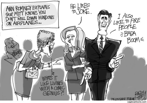 Mitt's Comic Stylings © Pat Bagley,Salt Lake Tribune,Mitt, Joke, Windows, Airplanes, Ann Romney, Humor, Jobs, Fired, Romney