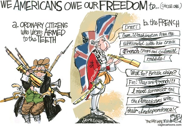 Freedom Frogs © Pat Bagley,Salt Lake Tribune,French,Cornwallis,1776,Revolution,Guns,Bear Arms,Washington,Yorktown,NRA,2nd Amendment,gun debate 2012, nra, NRA 2012, second amendment