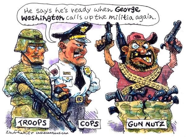 Huffaker - Politicalcartoons.com - gun nutz color - English - NRA, gun control