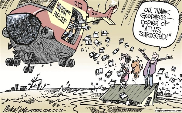 Romney Relief © Mike Keefe,Cagle Cartoons,romney; relief; ryan; sandy; hurricane; fema; flood; new; york; jersey