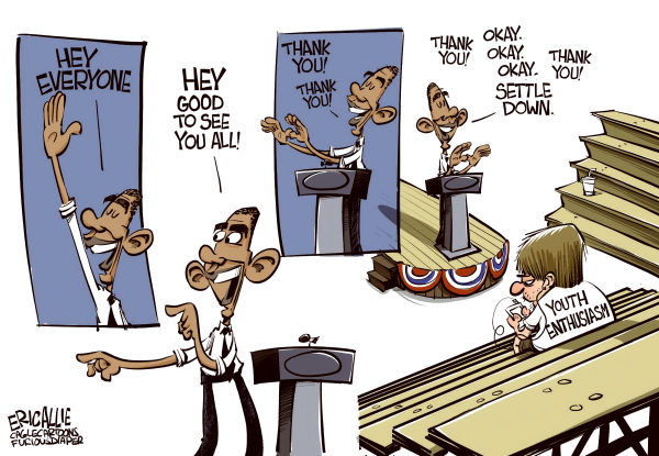 Enthusiasm © Eric Allie,Caglecartoons.com,obama,youth vote,polls,college kids,unemployment