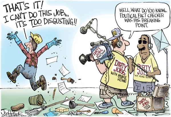 Fact Checking © Joe Heller,Green Bay Press-Gazette,Fact Checking, lie, fibs, white lies, distortion, negative ads, speech, conventions, politics, mike rowe, dirty jobs