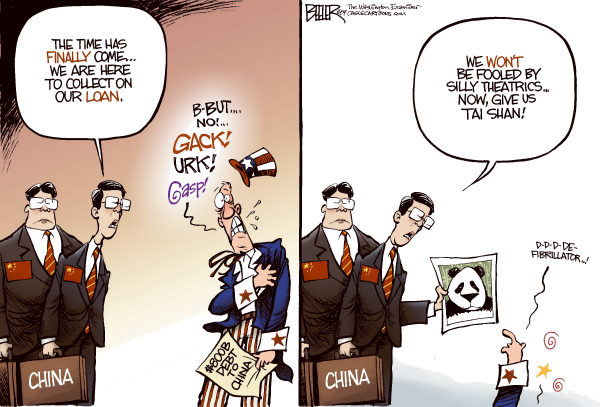 Popular image of China is a set of caricatures drawn by the State and media.  |  Cartoonist - Nate Beeler, from The Washington Examiner  on 12/7/2009 12:00:00 AM; source & courtesy - caglecartoons.com  |  Click for larger source image.