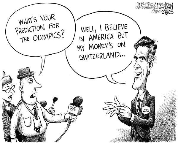 Romney on the Olympics © Adam Zyglis,The Buffalo News,romney, mitt, olympics, tax returns, swiss, bank accounts, off shore, money, investments, 2012, election, london, washington, politics, believe in america