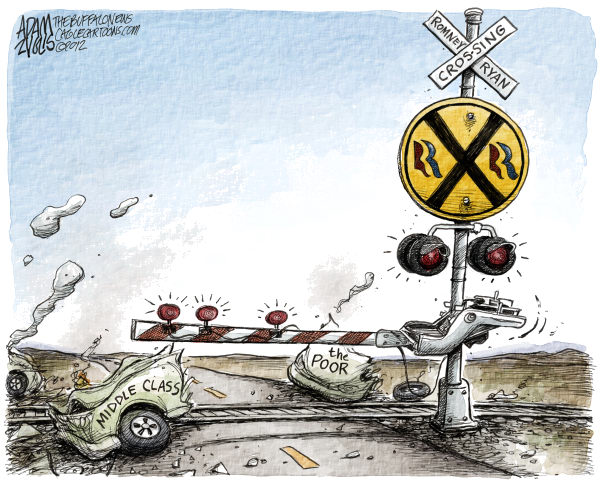 Romney Ryan Crossing © Adam Zyglis,The Buffalo News,romney, ryan, president, white house, election, race, gop, tax, policies, middle class, poor, railroaded, republican, plan, medicare, medicaid, mortgage, deduction