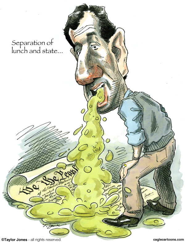 Santorum on the Constitution © Taylor Jones,Politicalcartoons.com,santorum,rick,rick santorum,republicans,tea party,constitution,separation,church and state,separation of church and state,catholics,catholicism,pennsylvania,michigan,michigan primary