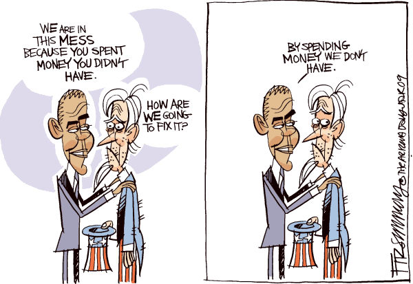 The problem is the solution is the problem ... The economic model is faulty. Every choice is a difficult choice. Any kind of make-do effort will need immense application.  |  Cartoonist David Fitzsimmons, in The Arizona Star  on 26/1/2009 12:00:00 AM; source & courtesy - caglecartoons.com  |  Click for larger source image.
