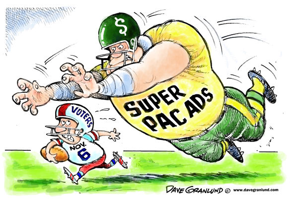 Voters and Super PAC ads © Dave Granlund,Politicalcartoons.com,Voters, election 2012, Super PAC, Super Pacs, money, corporations, donors, attack ads, politics, political, campaign, november 6, election day, vote, ballots,
