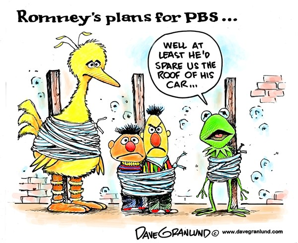 Romney and PBS © Dave Granlund,Politicalcartoons.com,mitt romney,romney,mitt,PBS,Public Broadcasting,subsidies,cut,plans,end susidies,federal funds,public tv,conservative,gop,republicans,election,2012,PBS Problems