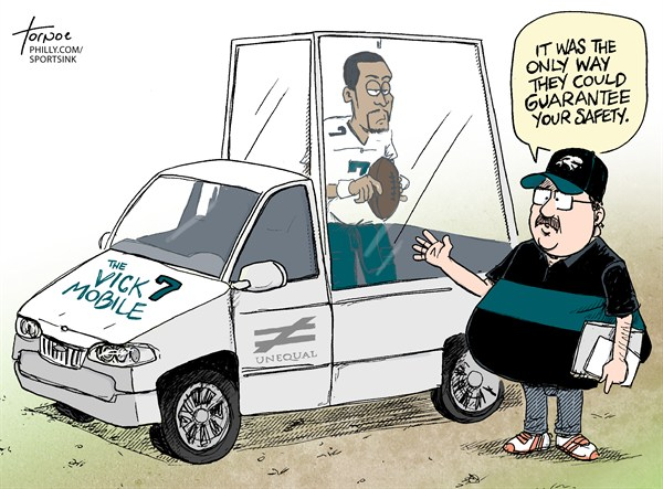 Michael Vick Eagles Injury © Rob Tornoe,Philadelphia Inquirer,NFL,sports,Philadelphia,Eagles,Andy Reid,Michael Vick