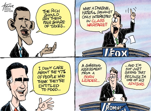 Romney and the 53 percent © Rob Tornoe,Media Matters,mitt romney,barack obama,fox news,mother jones,video,47%,taxes,federal income taxes,gaffe,Romney gaffe,romney-video-leak