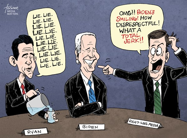 VP Debate: Smile over substance © Rob Tornoe,Media Matters,Paul Ryan,Joe Biden,Fox News,media,Vice President,VP Debate,water,debate,biden ryan debate