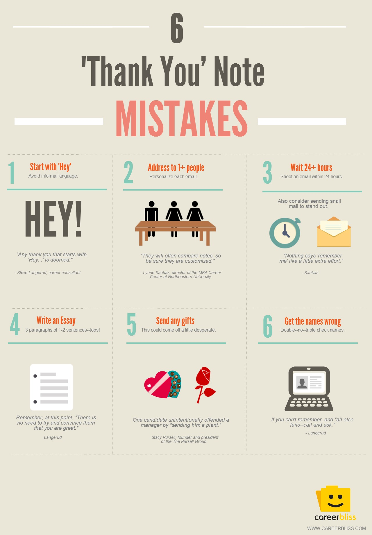 6 'Thank You' Note Mistakes Infographic CareerBliss