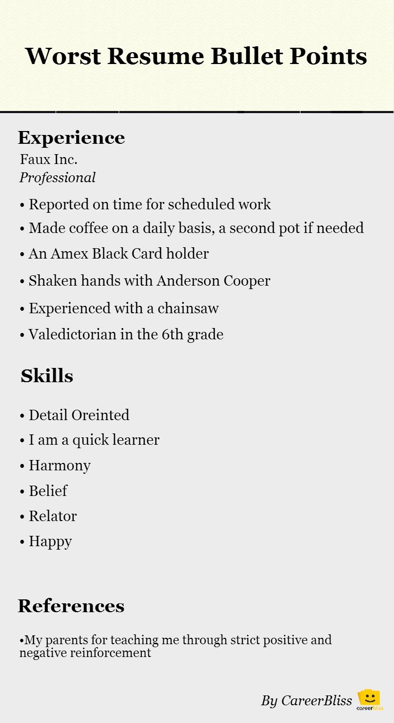 vet tech resume bullet points