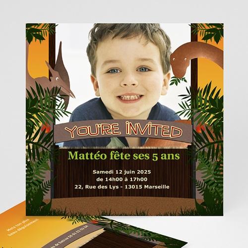carte invitation anniversaire garcon dinosaure jungle