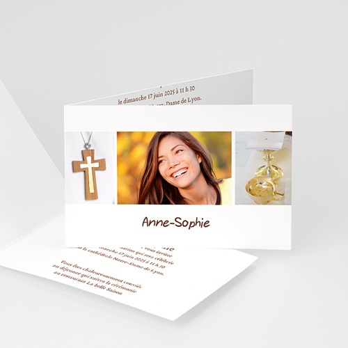 carte invitation confirmation communion fond blanc