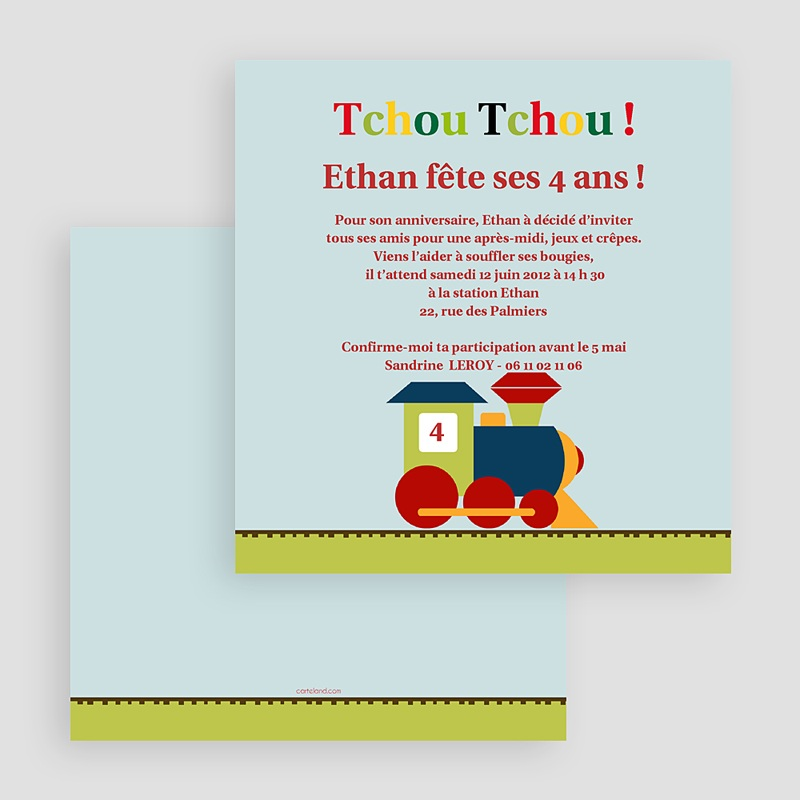 carte invitation anniversaire garcon train des 4 ans