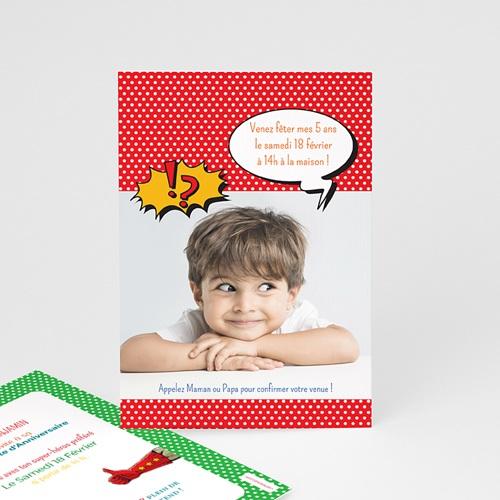 carte invitation anniversaire garcon super hero masque