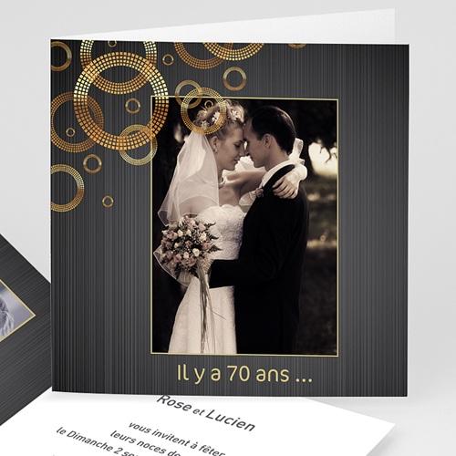 carte invitation anniversaire mariage noces de platine 70 ans