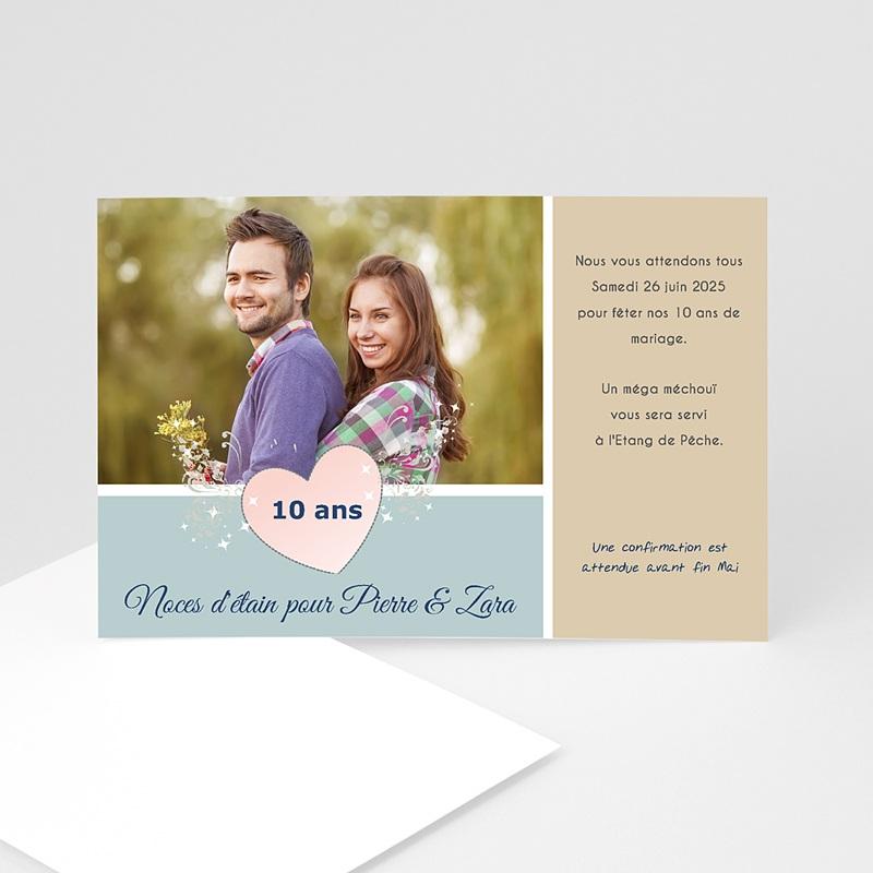 carte invitation anniversaire mariage noces d etain 10 ans
